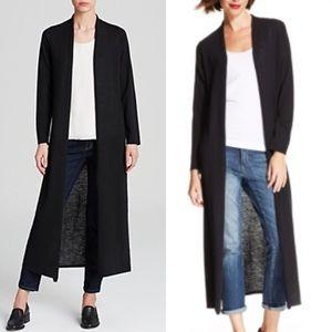 Eileen Fisher System Black Wool Maxi Cardigan